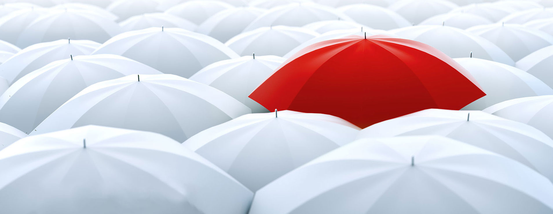 Banner Image of Red Umbrella among white umbrellas