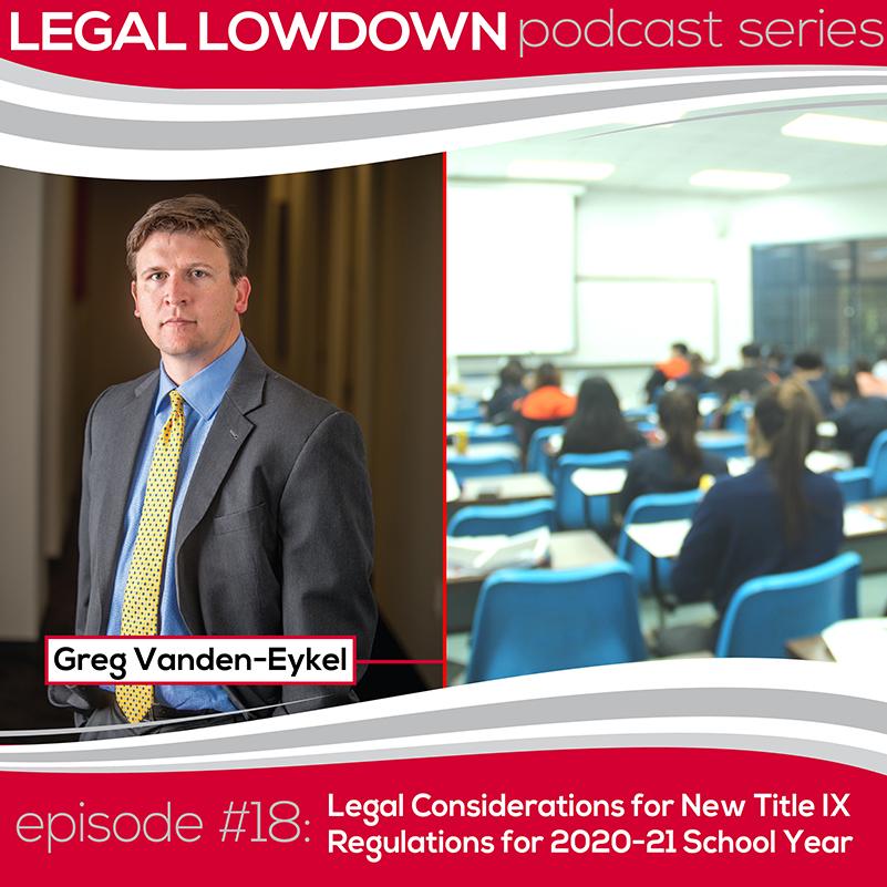 Legal Lowdown Podcast – Episode #18 – Legal Considerations for New Title IX Regulations for 2020-21 School Year