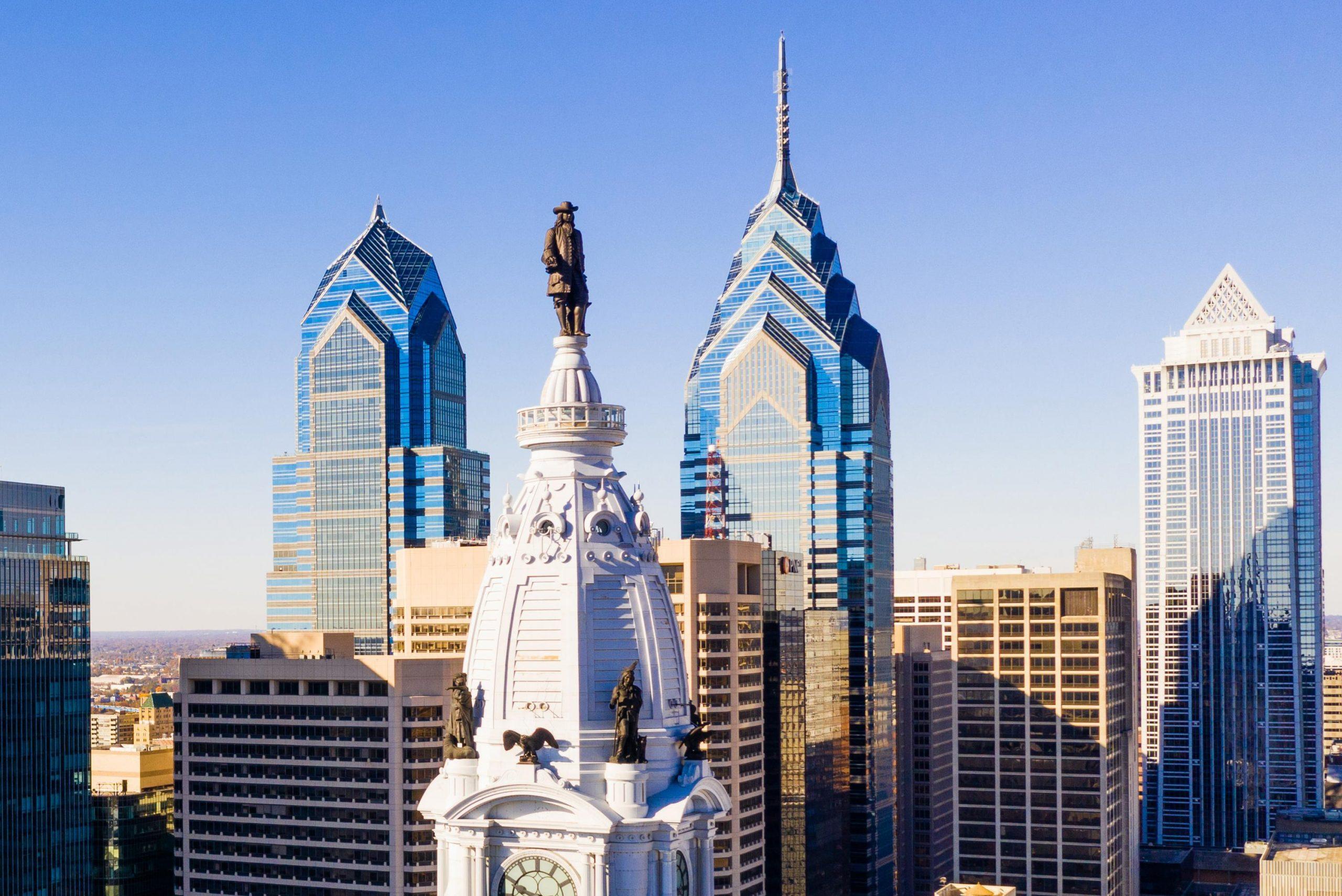 Philadelphia skyline and Delaware River